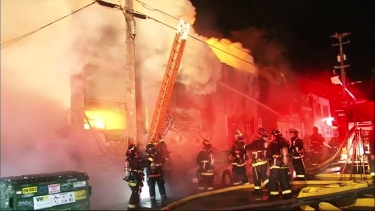 Firefighters battle the Ghost Ship blaze on Dec. 2, 2016, in Oakland, Calif.