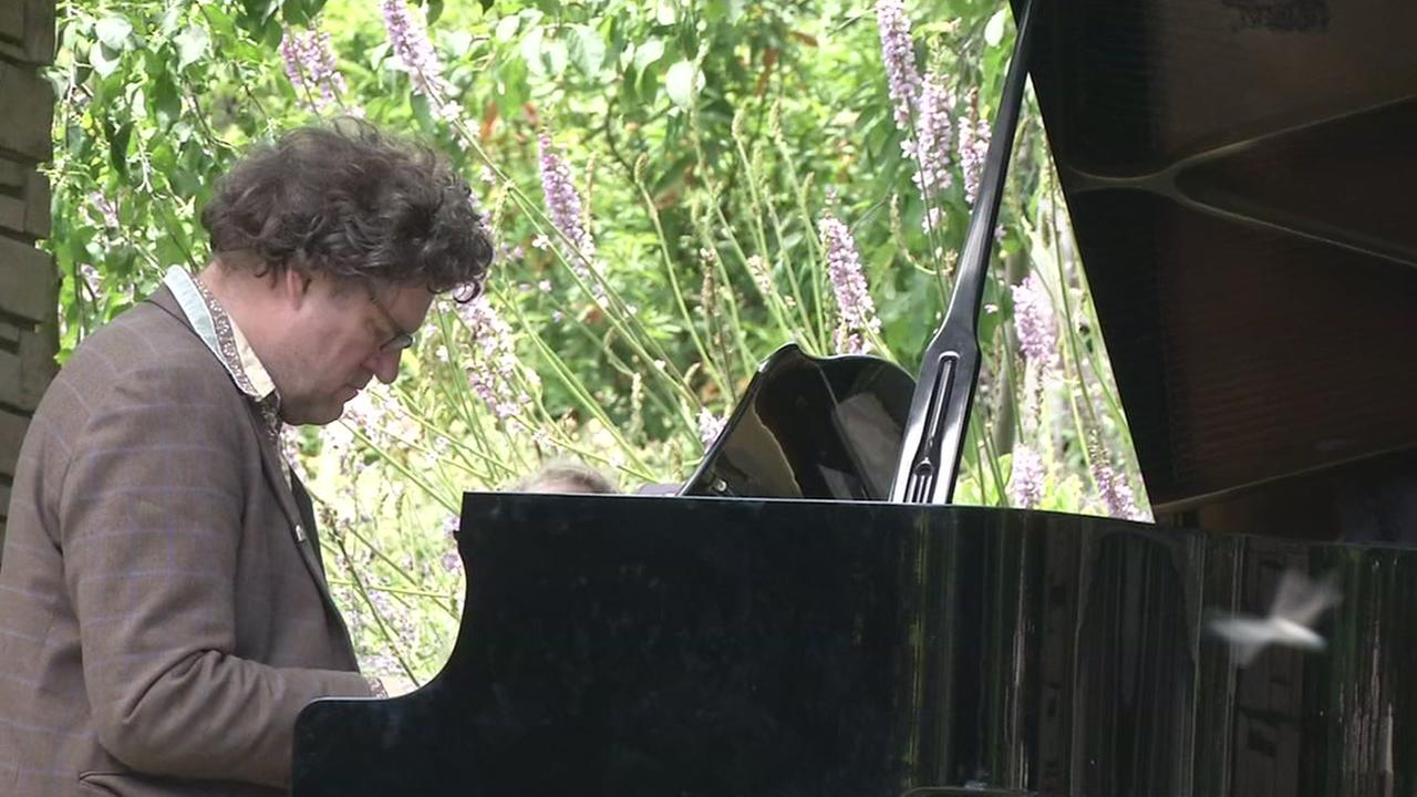 A person plays the piano in San Franciscos Botanical Garden on Thursday, July 5, 2018.