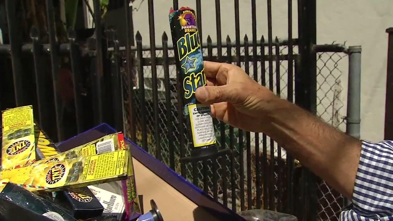 Illegal fireworks appear in Oakland, Calif. on Thursday, July 5, 2018.