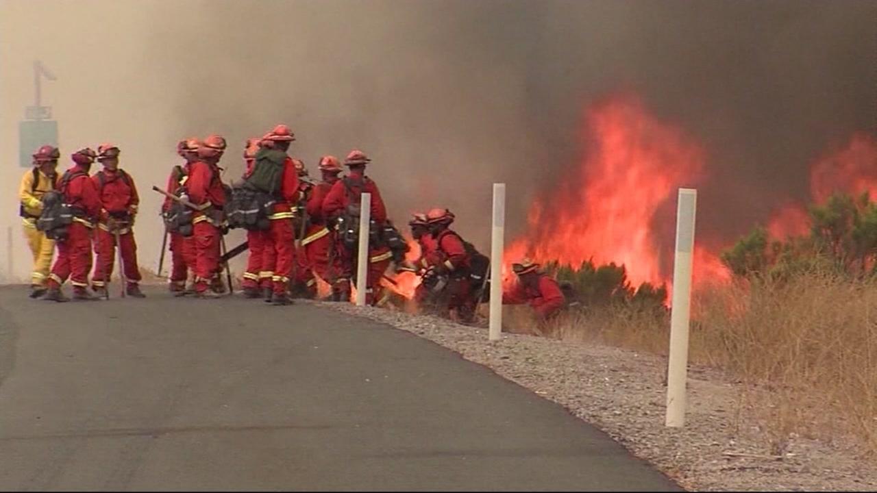 Firefighters near Alpine, Calif., in San Diego County, on July 7, 2018.