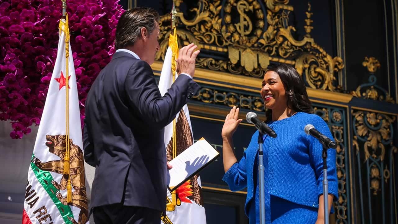 Gavin Newsom swears in London Breed as San Franciscos newest mayor at city hall on Wednesday, July 11, 2018.