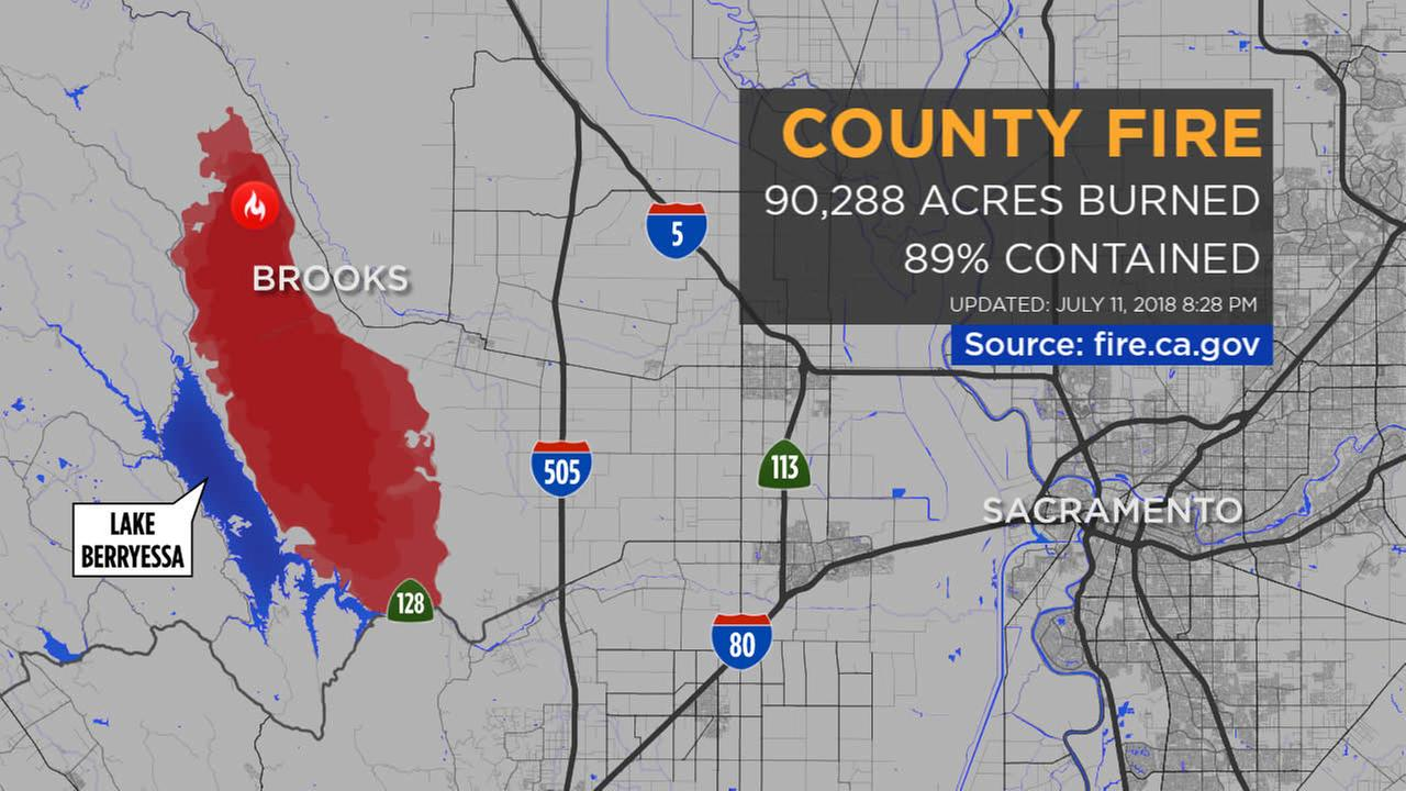 MAPS: A look at the 'County Fire' burning in Yolo, Napa counties