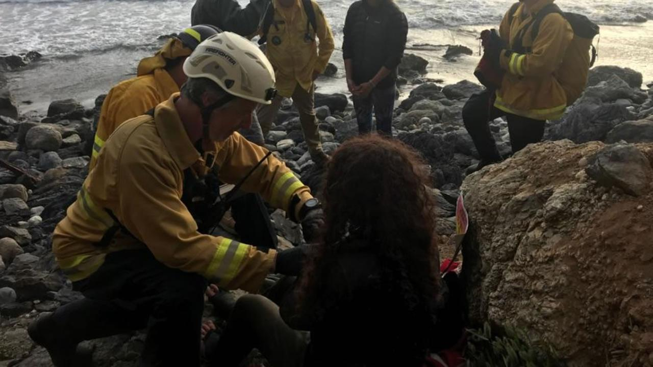 The Monterey County Sheriffs Department shared this photo of Angela Hernandez being rescued at the bottom of a cliff near Big Sur, Calif. on Friday, July 13, 2018.