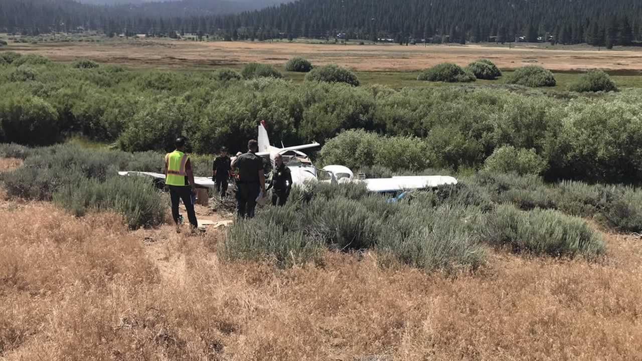 The Placer Sheriff tweeted this photograph of a plane crash that killed two people near Truckee, Calif. on Tuesday, July 17, 2018.