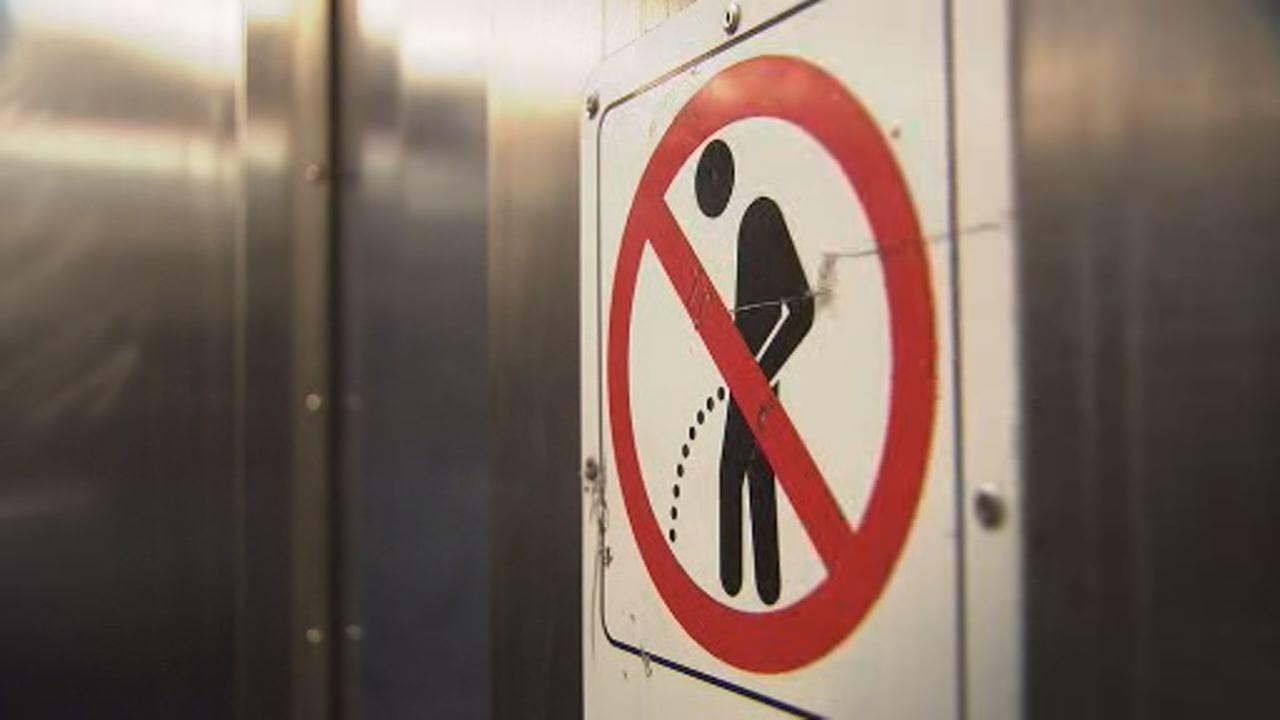 This undated image shows a no urinating in public sign posted at a San Francisco BART station.