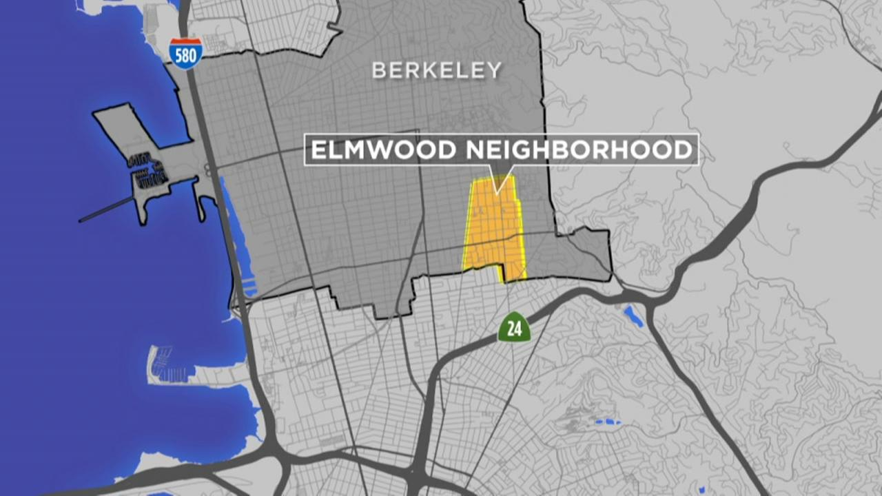This map shows the Berkeley, Calif. neighborhood of Elmwood.