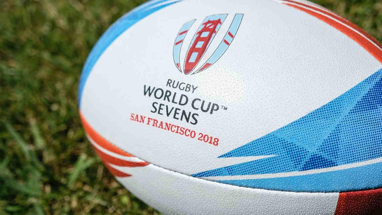 A Rugby World Cup Sevens ball is seen in this undated image.