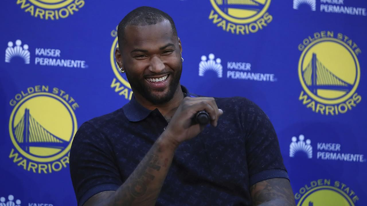 Golden State Warriors DeMarcus Cousins laughs during a media conference Thursday, July 19, 2018, in Oakland, Calif.