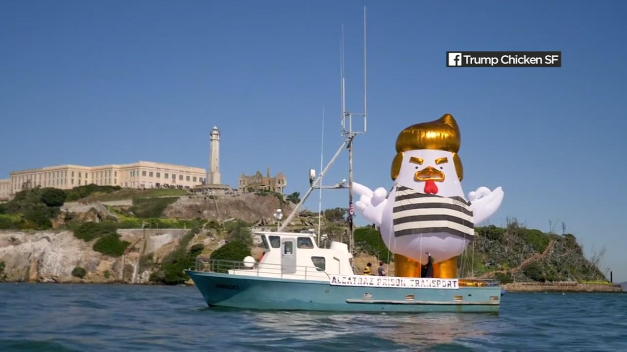 An inflatable chicken made to look like President Donald Trump is seen in this undated image.