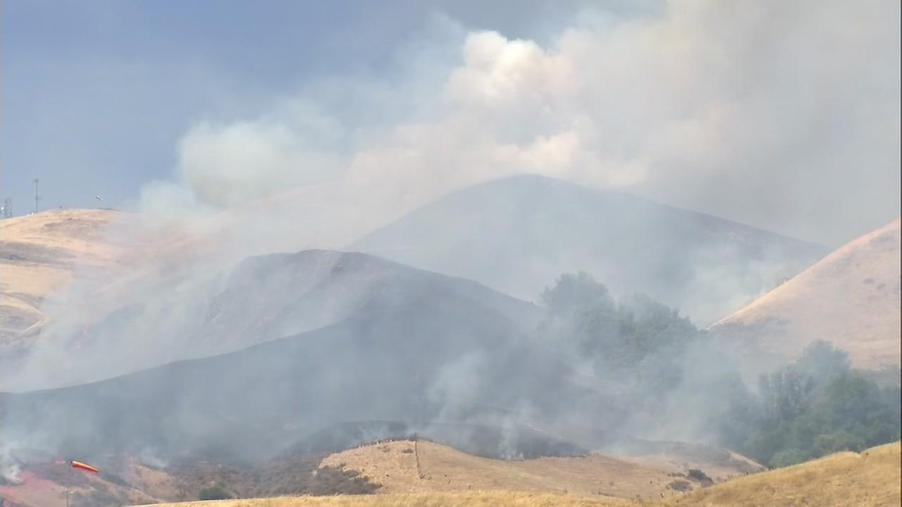 Brush fire in Milpitas, California on Sunday, July 23, 2018.