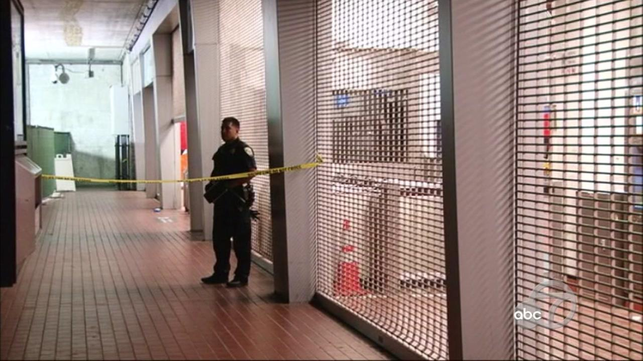 Crime scene at BART station in Oakland, California, on Monday, July 23, 2018.