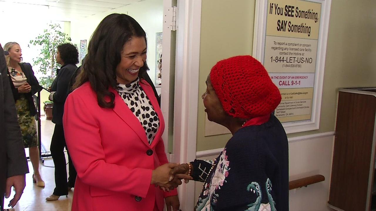 Mayor London Breed visits people at San Franciscos Victorian Manor on Monday, July 23, 2018.