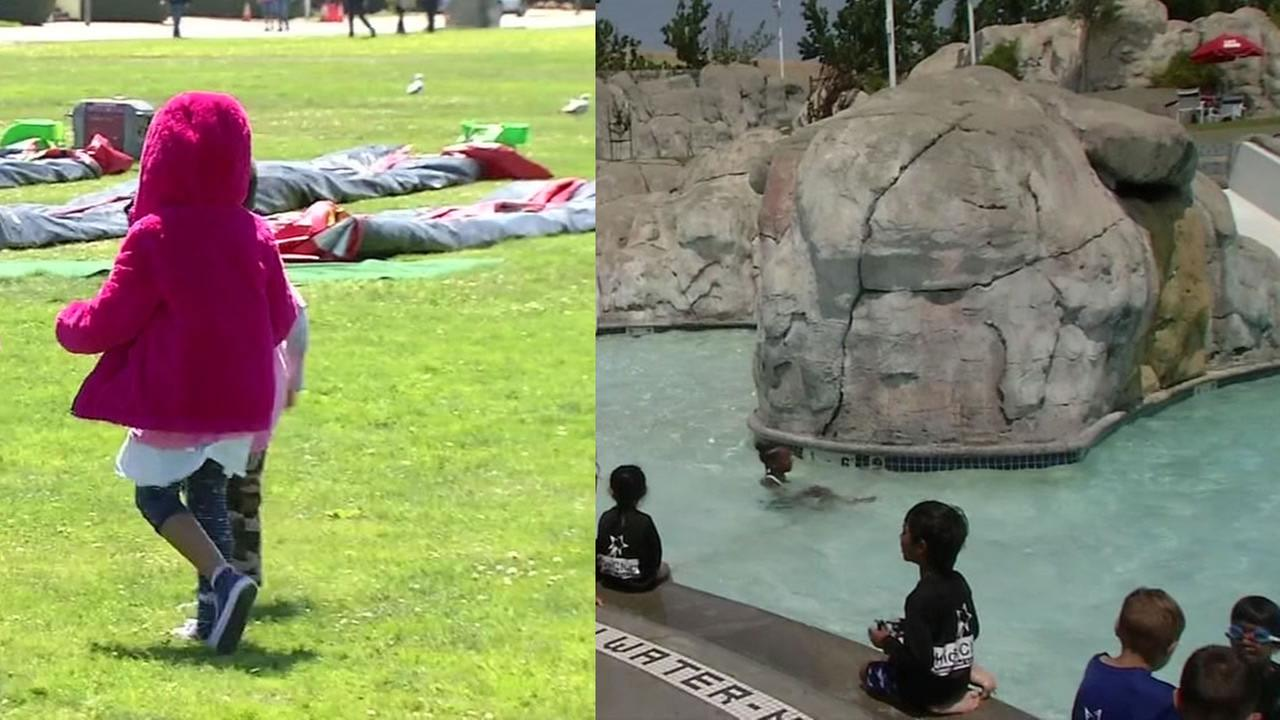 Children are seen in both San Francisco (left) and Antioch, Calif. (right) on the same day, and experience different temperatures.