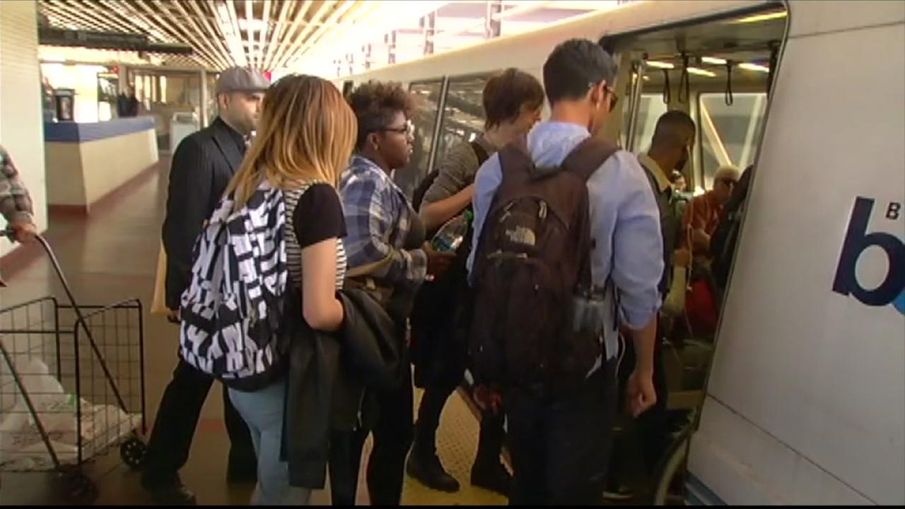 BART passengers board a train in this undated image.