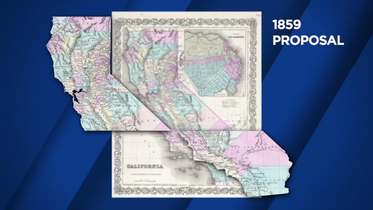 This is an undated image of a map showing a proposal to split California up.