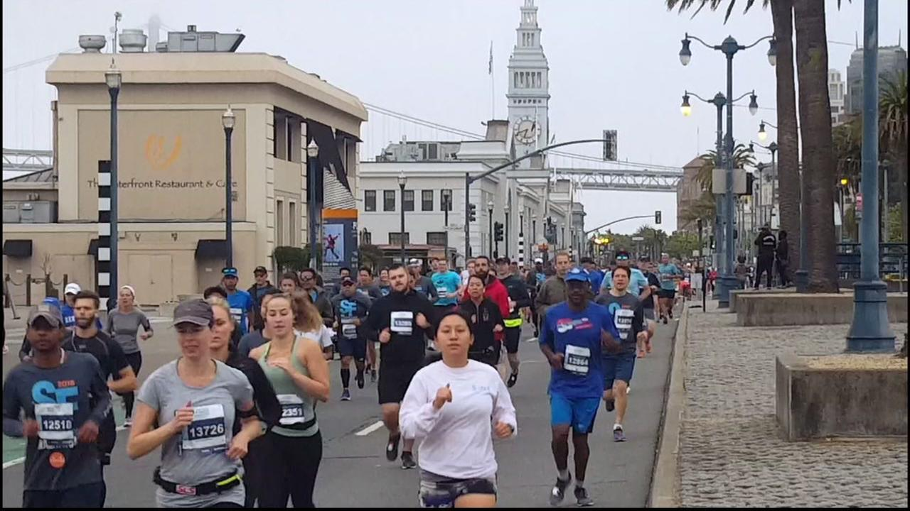 Participants in the San Francisco Marathon are seen in San Francisco on Sunday, July 29, 2018.