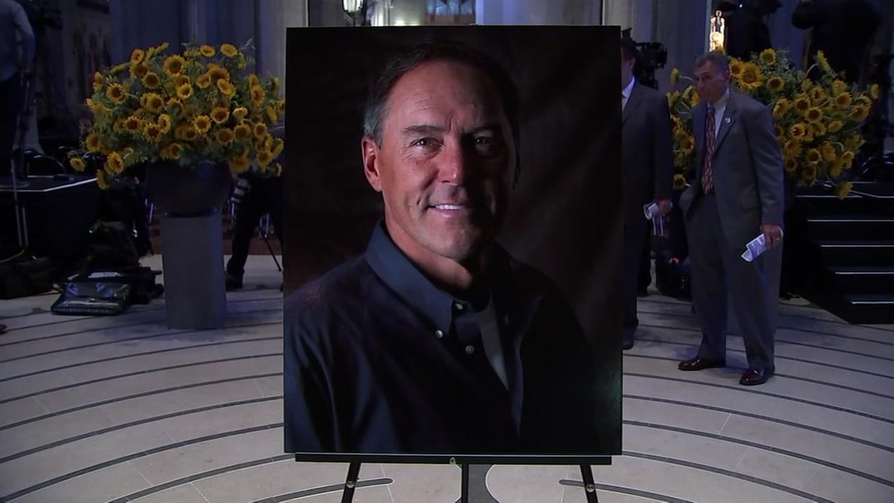 A picture of Dwight Clark is seen during a memorial for the San Francisco 49ers legend in Grace Cathedral in San Francisco on Wednesday, August 1, 2018.