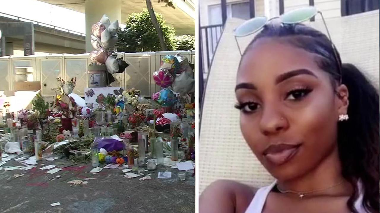 Memorial for Nia Wilson at MacArthur BART station in Oakland, California on Thursday, August 2, 2018.