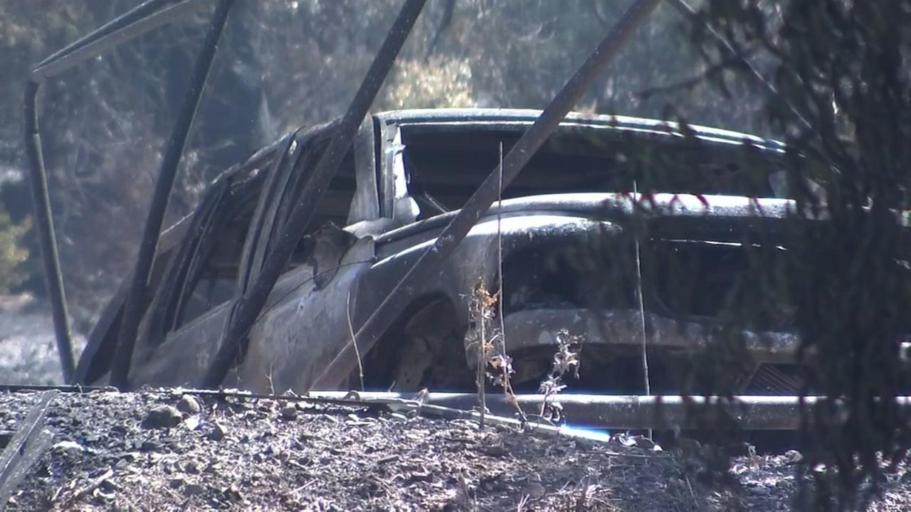 A vehicle burned in the Mendocino Complex Fires is seen in this undated image.