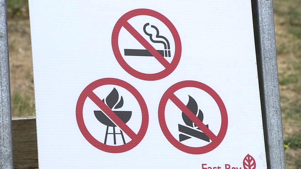 A sign prohibiting open flames and smoking is seen in a park in this undated image.