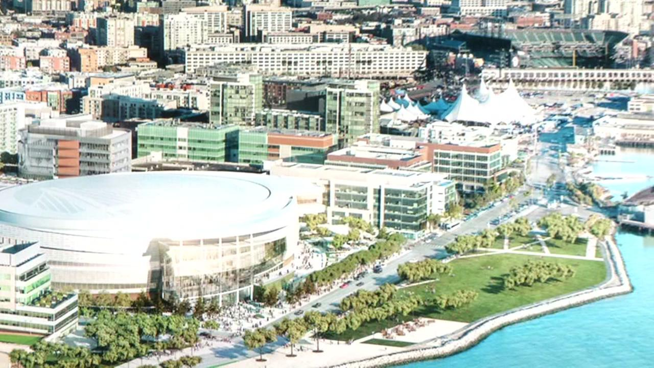 A mock-up of the completed Chase Center in San Francisco is seen here.