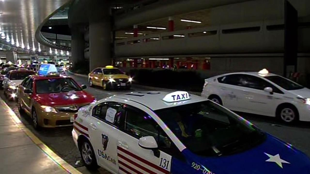 Taxi cab protest at San Francisco International Airport