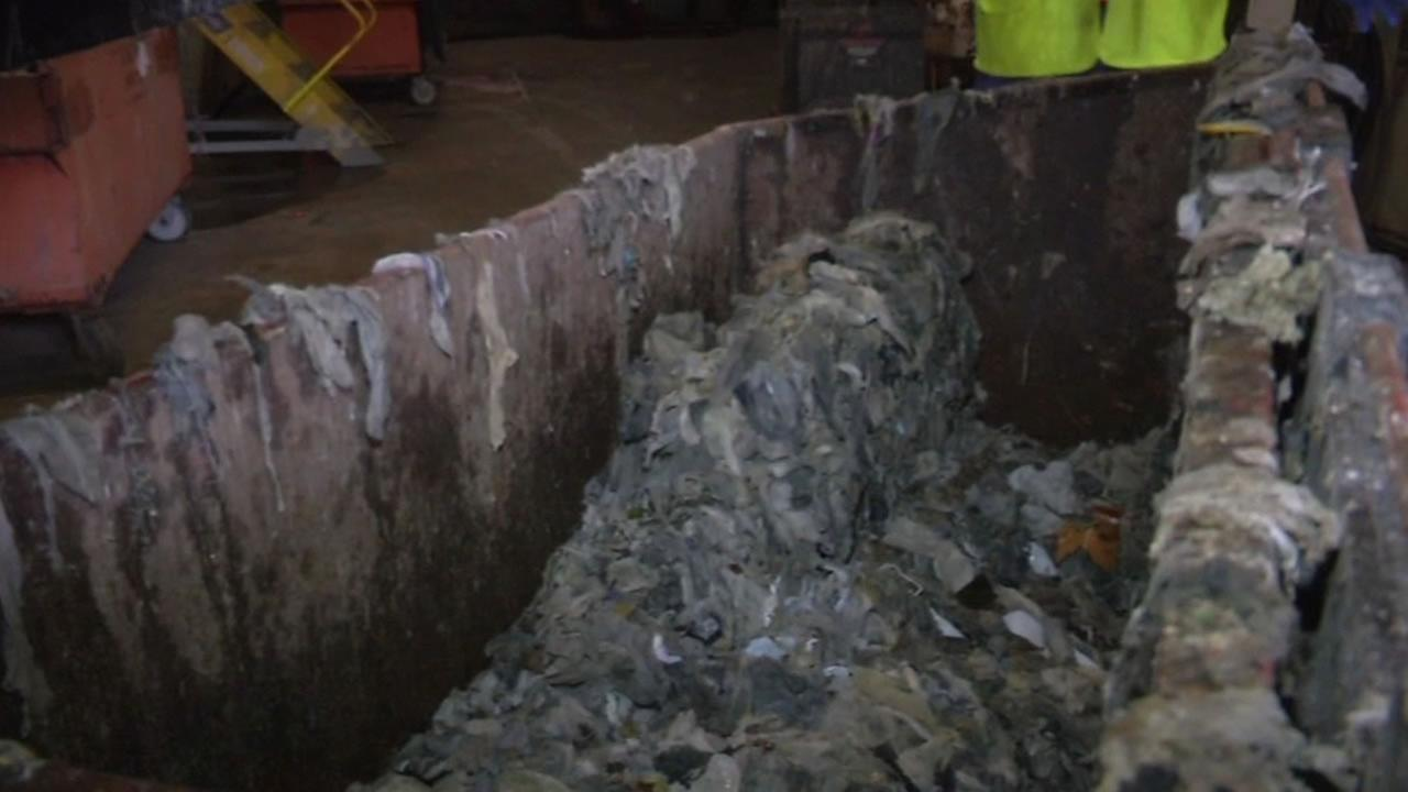 wipes that have gone through the sewer system