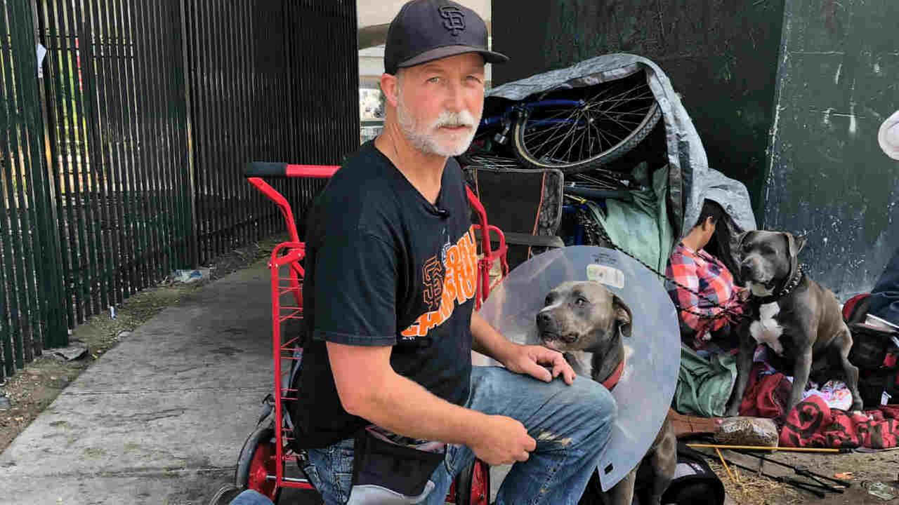 Paul Crowell is seen with two dogs in San Francisco on Monday, August 27, 2018.