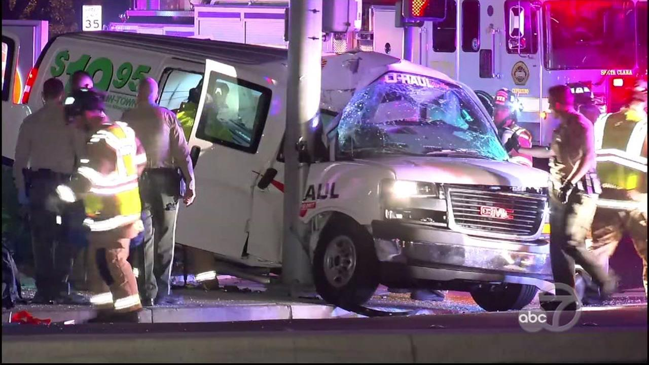 A U-Haul van is seen after crashing into another vehicle and a pole in Cupertino, Calif. on Sunday, September 2, 2018.