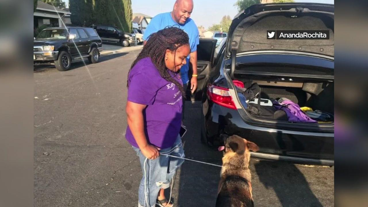 Dana and her dog Nala are reunited in Fairfield, Calif. on Monday, Sept. 3, 2018.