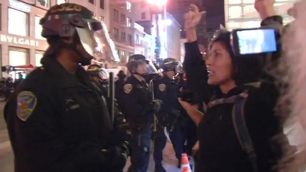 Woman yelling at a police officer in Union Square