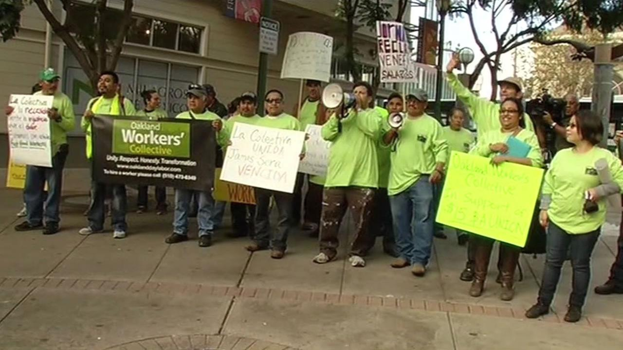 Workers in Oakland were part of a nationwide protest Thursday calling for a higher minimum wage.