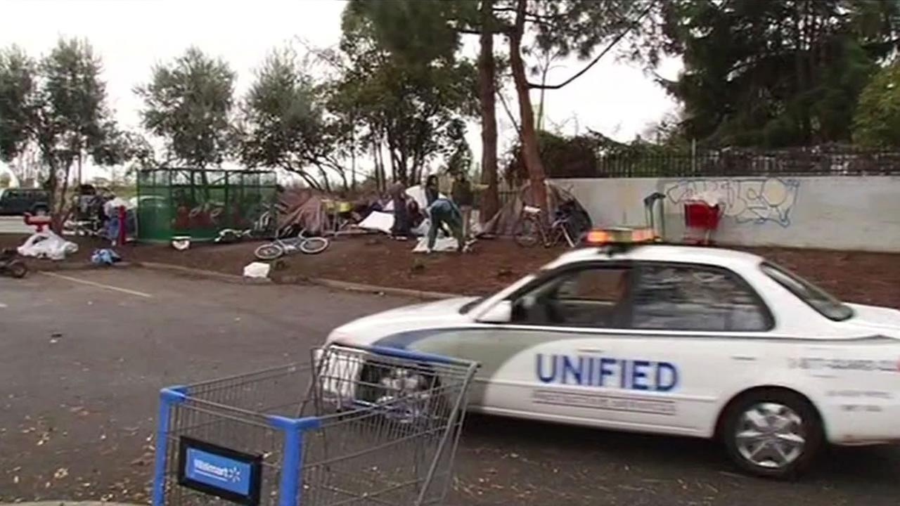 Some of San Joses homeless that were forced out of the Jungle area move to a nearby Walmart parking lot.