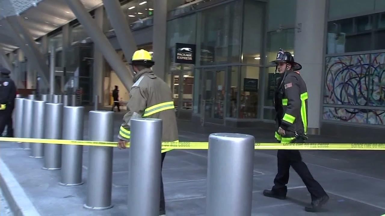 Firefighters are seen outside the Salesforce Transit Center in San Francisco on Tuesday, September 25, 2018.