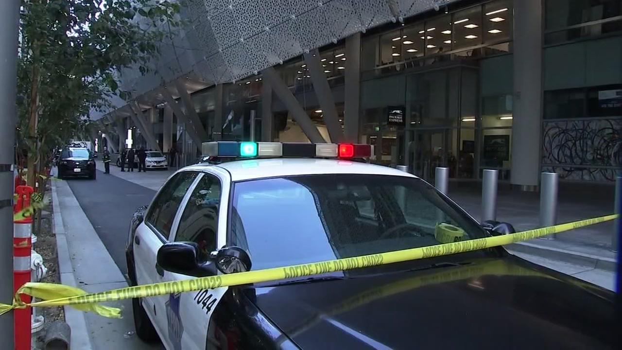 A San Francisco Police Department cruiser is seen in front of the temporarily closed Salesforce Transit Center in San Francisco on Tuesday, September 25, 2018.