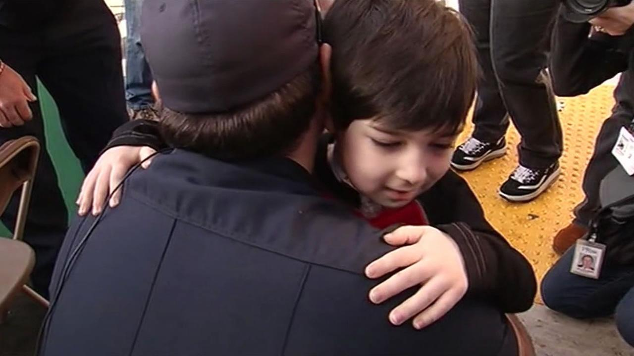 Sebastion, who had miraculously survived a 230-foot fall from a cliff, reunited with the firefighters who saved him.