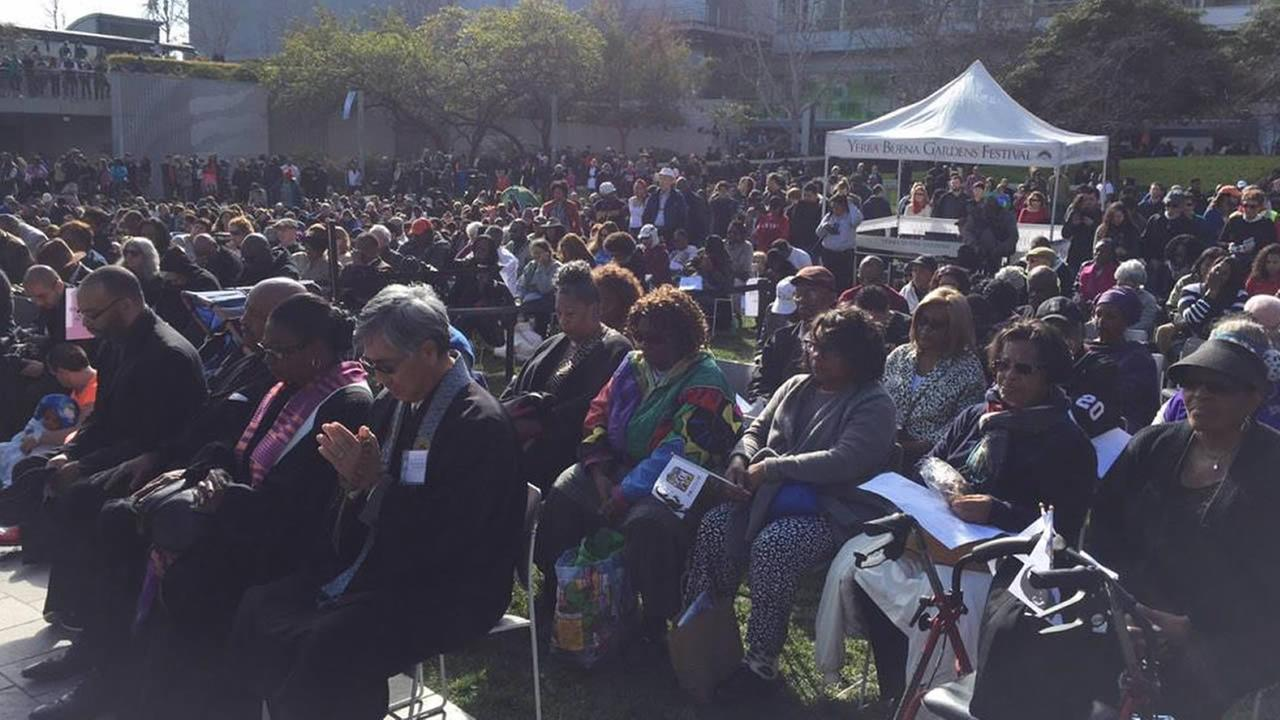 Hundreds of people gather at San Franciscos Yerba Buena Gardens