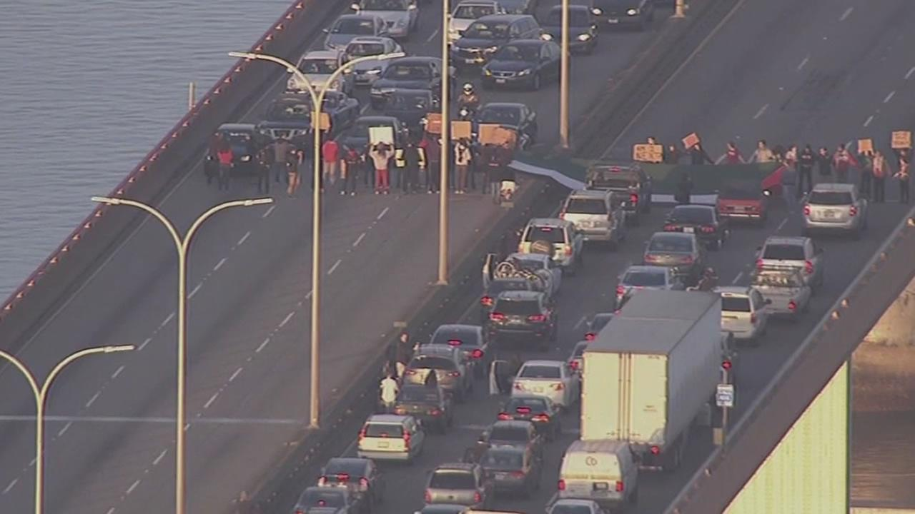 Protesters blocked both sides of the San Mateo Bridge