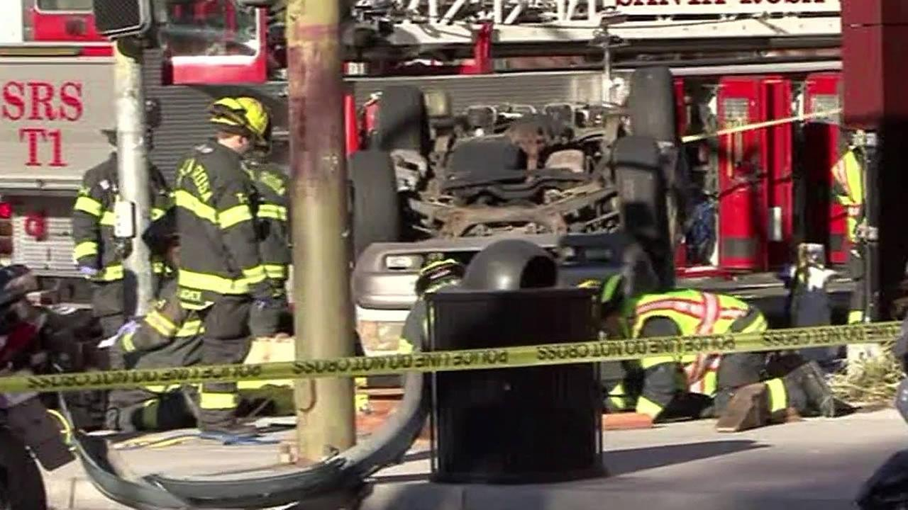 Vehicle overturns on pedestrian in Downtown Santa Rosa