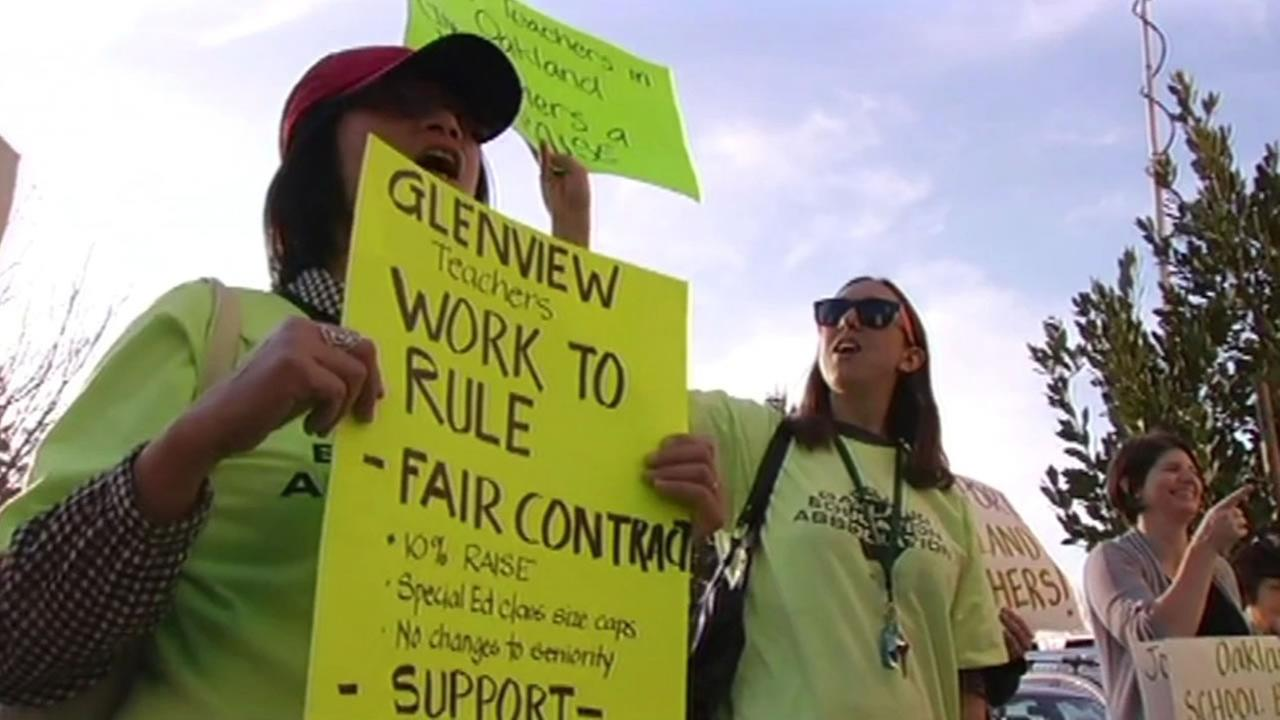 Some Oakland teachers are trying to get the school districts attention by working the hours required by their contract -- and thats it.