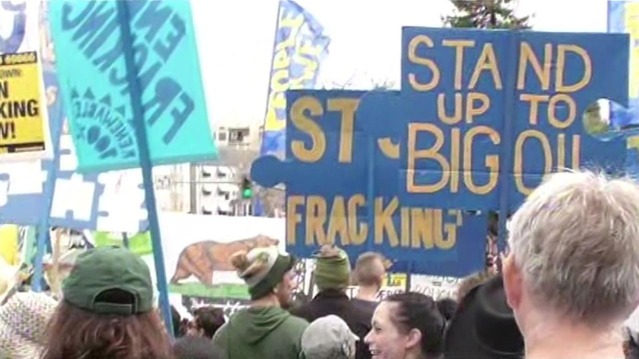 Several thousand demonstrators turned out in Oakland to protest against fracking in California.