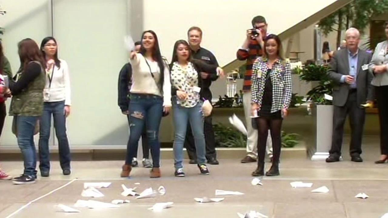 TechGYRLS took part in a paper airplane contest with engineers at Lockheed Martin in Sunnyvale.