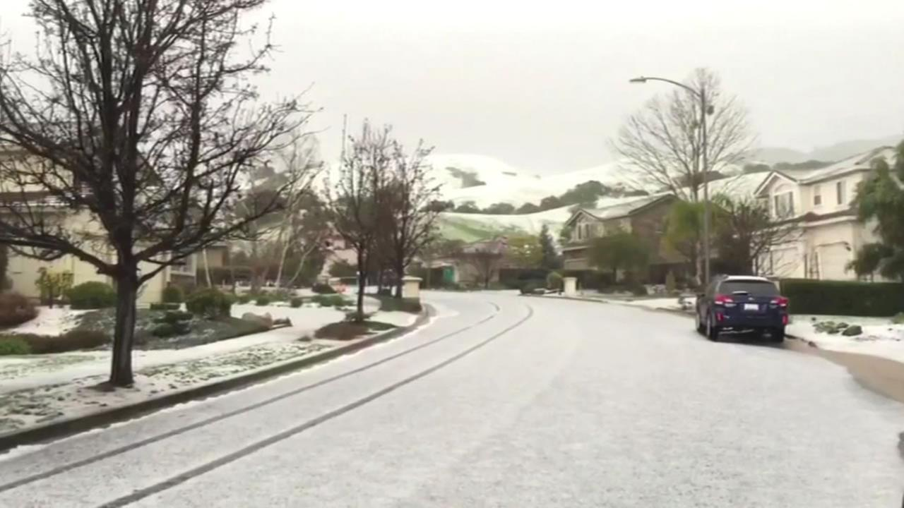 Heavy hail that looked like snow fell in San Jose Saturday.