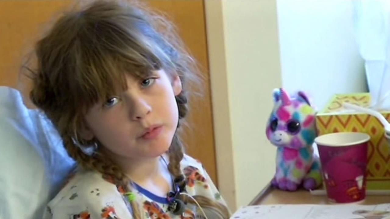 Seven-year-old Sophia Angelini injured her kidney in a freak accident where she tripped on her  untied shoelace.
