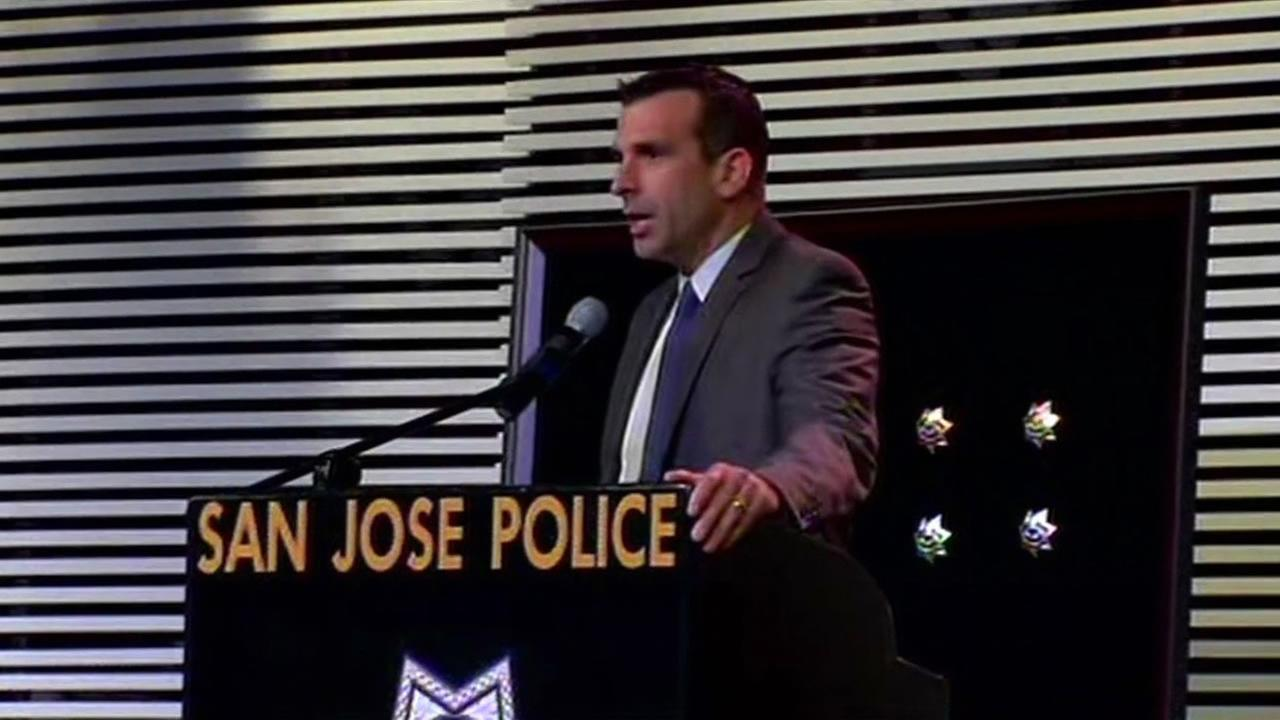 San Jose Mayor Sam Liccardo at a promotional ceremony for San Jose police officers.