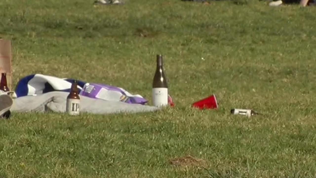 Trash at Fort Mason park in San Francisco