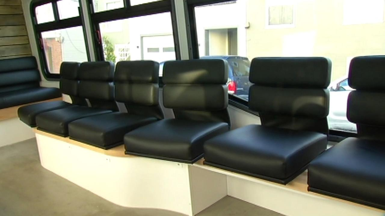 seats inside leap bus