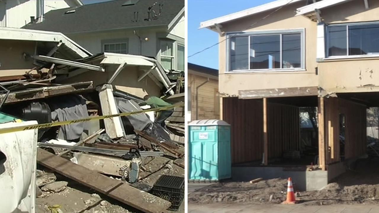 before and after a house collapsed