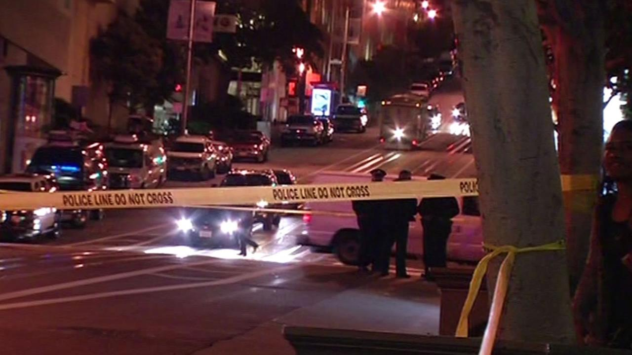 An armed robbery suspect led police on a chase through San Francisco and fatally struck a pedestrian on April 10, 2015.