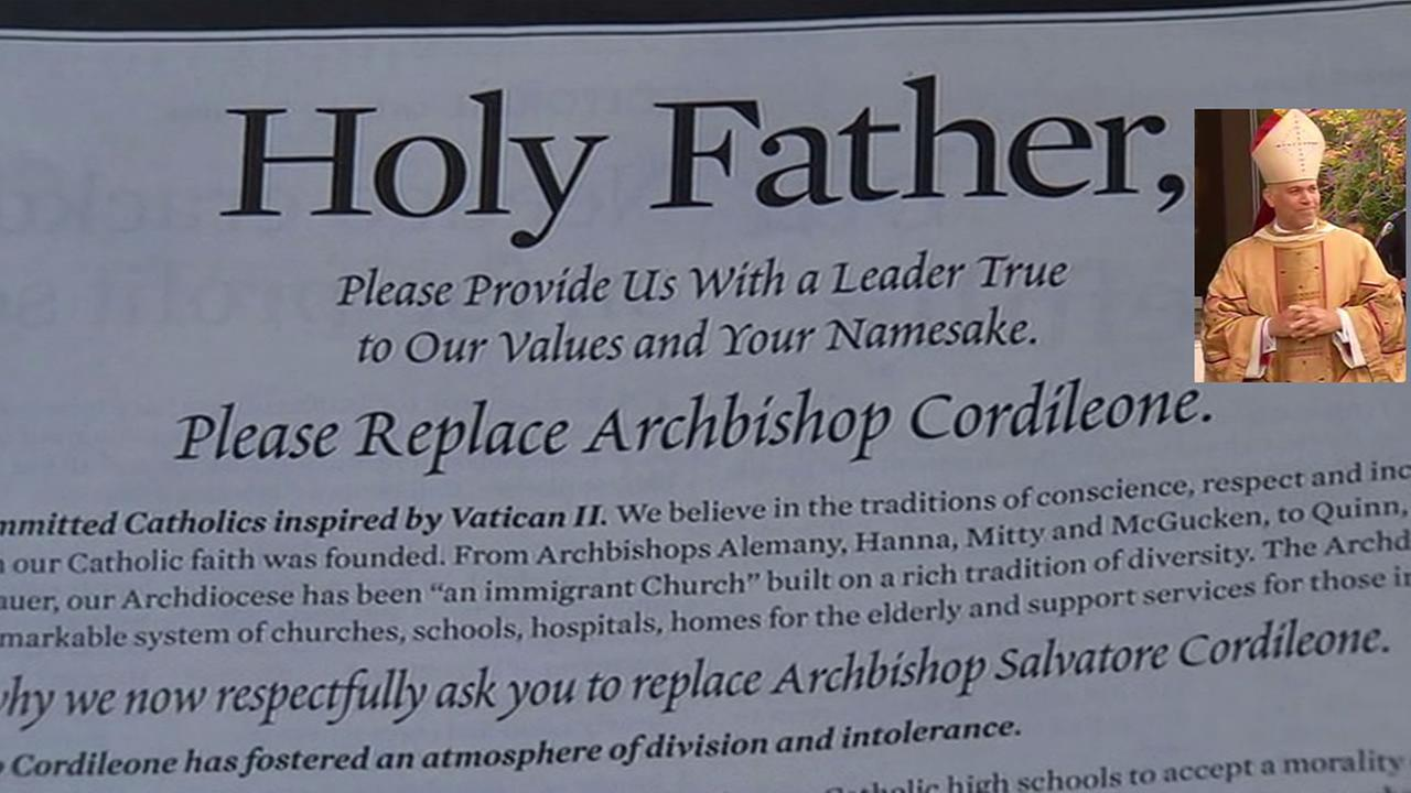 A group of Catholics has taken out a full page ad calling for Pope Francis to remove  San Francisco archbishop Salvatore Cordileone.